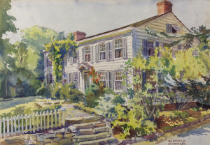 The recently restored watercolor of Stony Hollow Farm by W. Stuart Archibald 1938