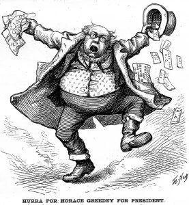 Horace Greeley was a favorite subject of Thomas Nast's cartoons.